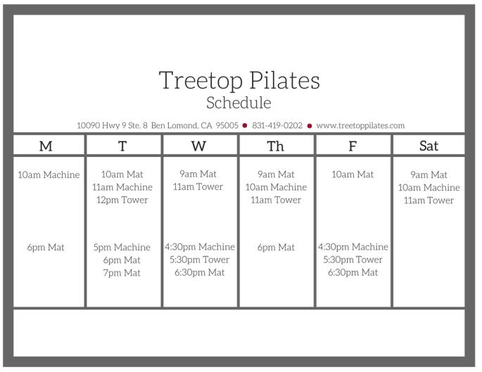 Treetop Window Schedule